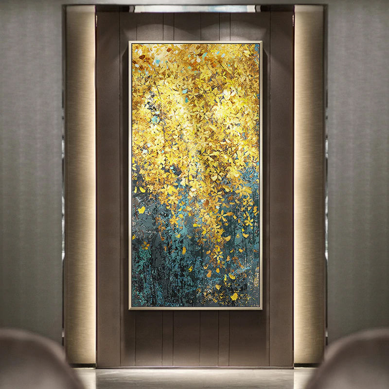 Golden Leaf Cascade Canvas Print Wall Art Abstract Nordic Style Painting Fine Art Giclee Print For Modern Home Office Hotel Interior Luxury Wall Art Decor.