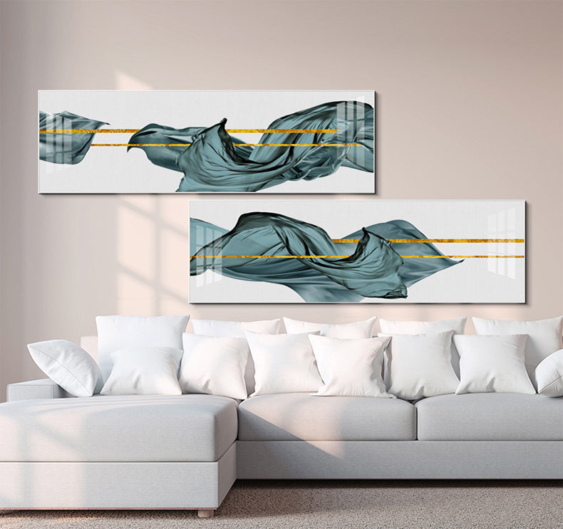 Golden Lines Through Green Jade Silk Modern Wide Format Abstract Wall Art Fine Art Canvas Prints For Contemporary Bedroom Living Room Home Decor