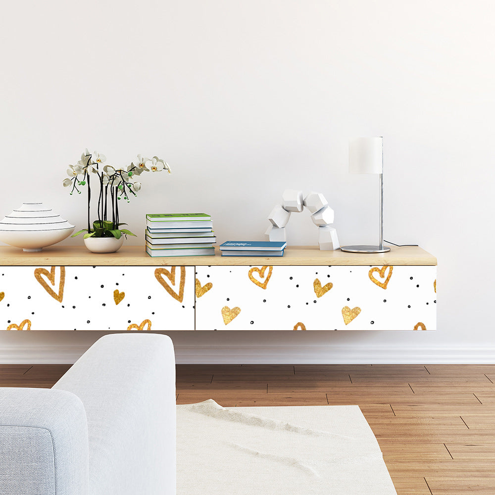 Golden Love Hearts Peel and Stick Vinyl Wall Mural Self Adhesive PVC Wallpaper Covering For Walls Furniture Cabinet Surfaces Creative DIY Nursery Decor.