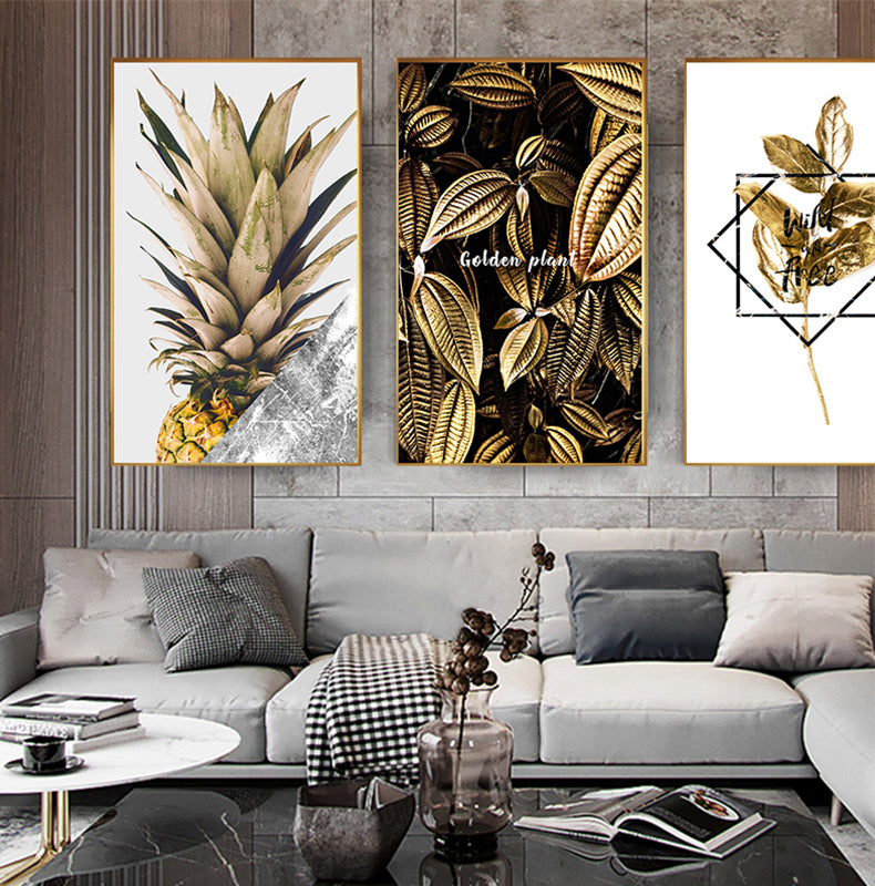 Golden Monstera Leaf Nordic Wall Art Tropical Botany Pineapple Luxury Fine Art Canvas Prints Salon Art For Living Room Bedroom Modern Home Interior Decor