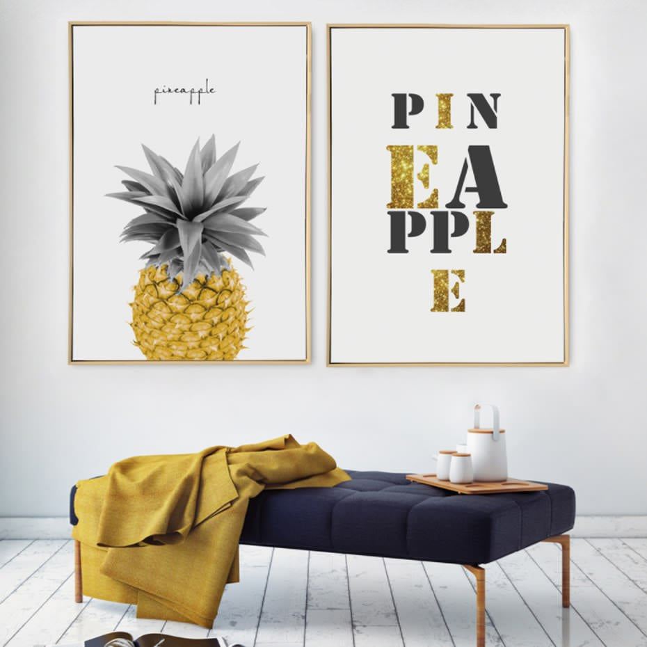 Golden Pineapple Art Abstract Modern Simplicity Nordic Canvas Typographic Poster Art Colourful Prints For Living Room Home Decor