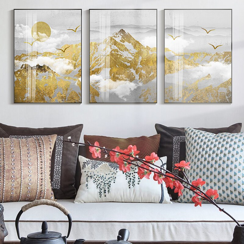 Golden Sun Mountain Landscape Wall Art Fine Art Canvas Prints Modern Nordic Style Wilderness Scenery Pictures For Living Room Dining Room Trending Interior Decor