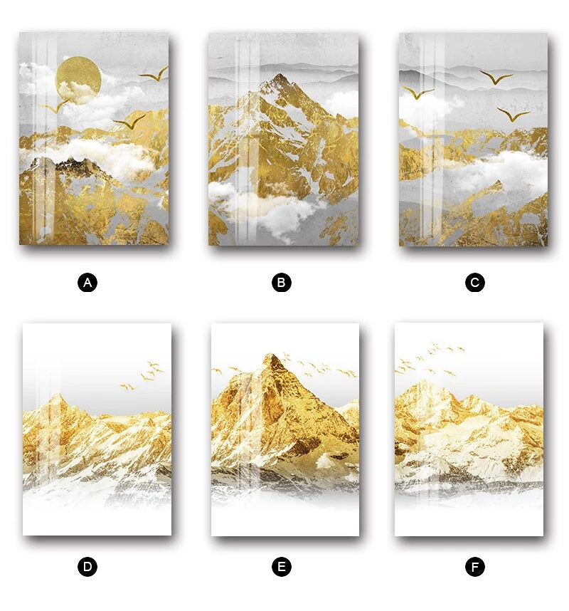 GOLDEN SUN MOUNTAIN LANDSCAPE WALL ART FINE ART CANVAS PRINTS MODERN NORDIC STYLE WILDERNESS SCENERY PICTURES FOR LIVING ROOM DINING ROOM TRENDING INTERIOR DECOR.