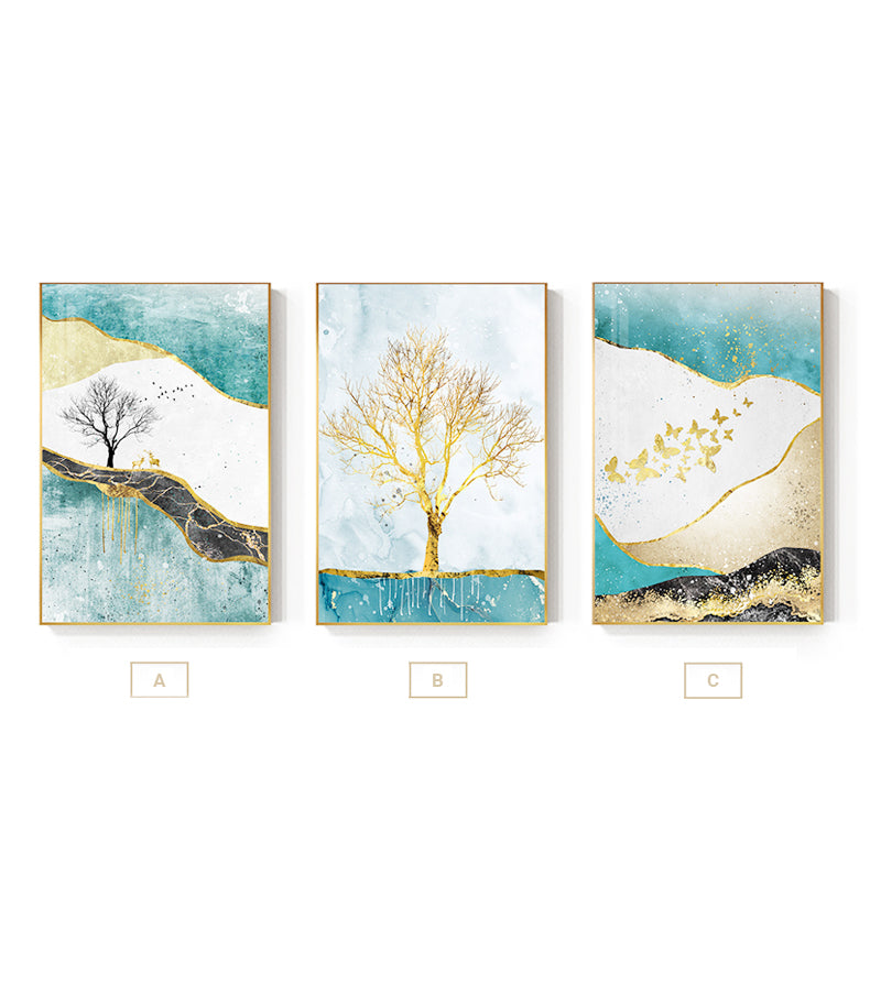 Golden Tree Butterflies And Deer Abstract Landscape Wall Art Fine Art Canvas Prints Pictures For Living Room Dining Room Luxury Interiors Wall Art Decor