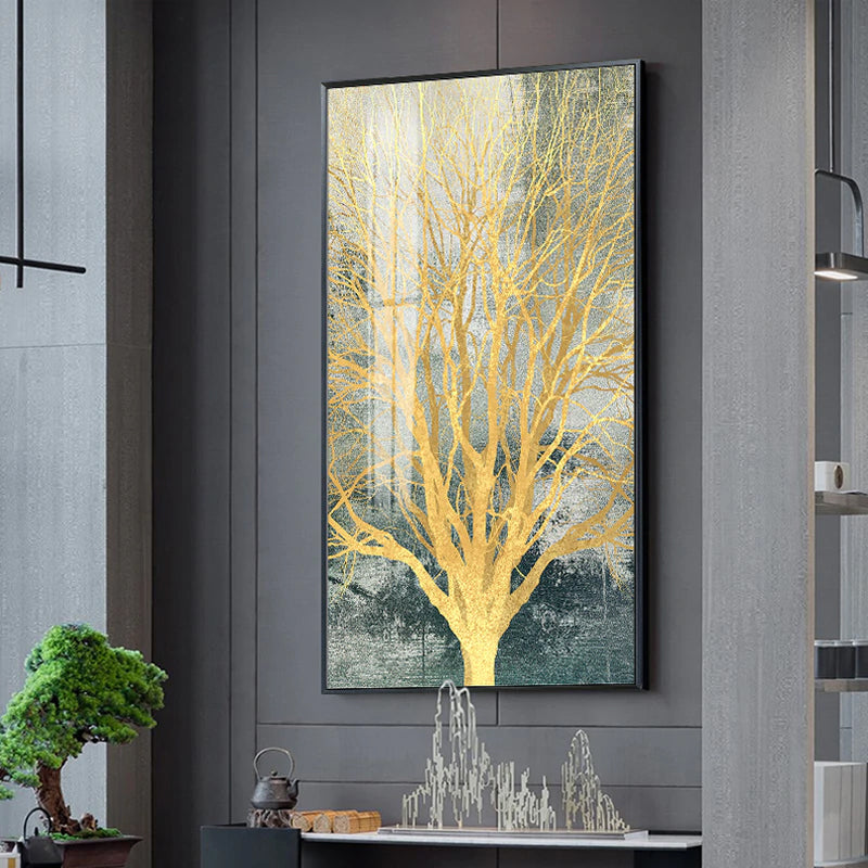 Golden Tree Nordic Style Modern Wall Art Fine Art Canvas Prints Skyscraper Format Posters Modern Pictures For Luxury Loft Home Office Interior Decor