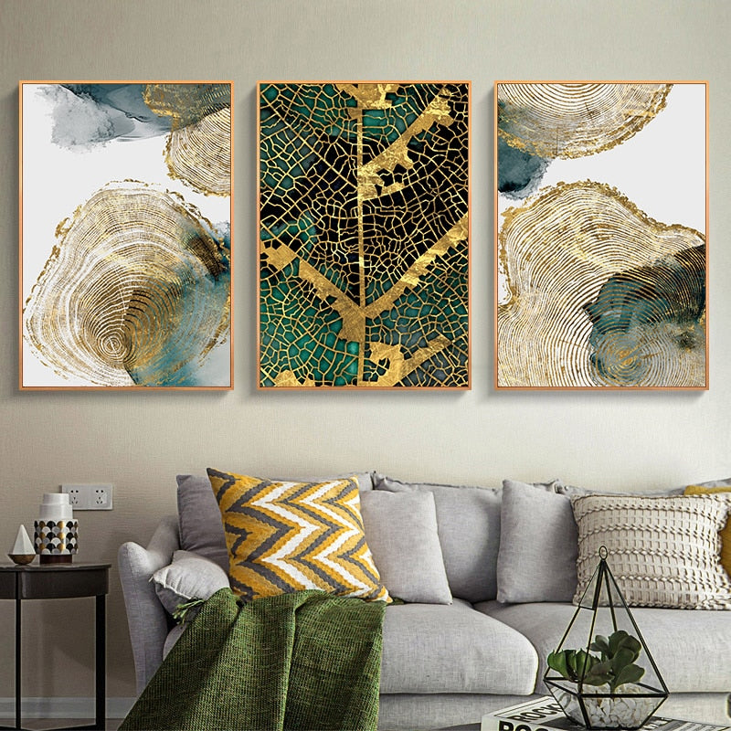 Golden Tree Of Life Wall Art Leaf Veins Wood Rings Nordic Abstract Botanic Fine Art Canvas Prints For Modern Living Room Home Decor