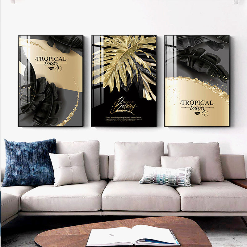 Golden Tropical Botany Luxury Nordic Wall Art Black & Gold Palm Leaves Fine Art Canvas Prints Pictures For Office Living Room Bedroom Modern Home Decor