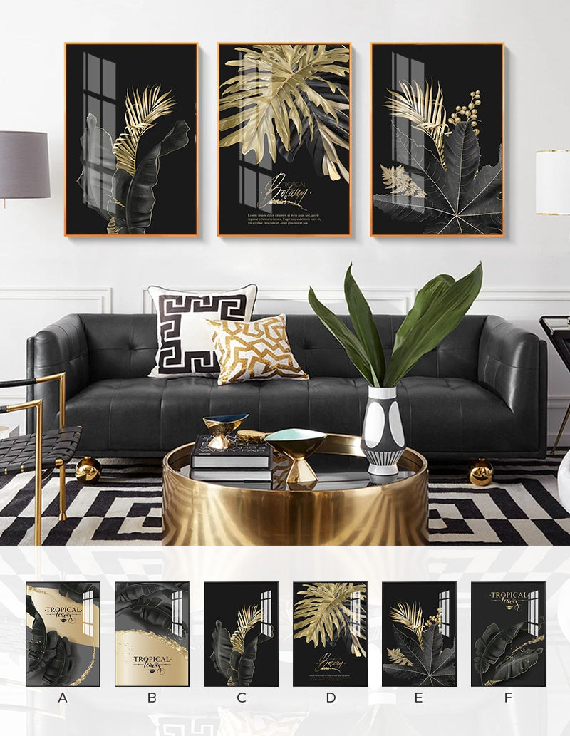 Golden Tropical Botany Luxury Nordic Wall Art Black Gold Leaves Fine Art Canvas Prints Pictures For Living Room Bedroom Modern Home Decor