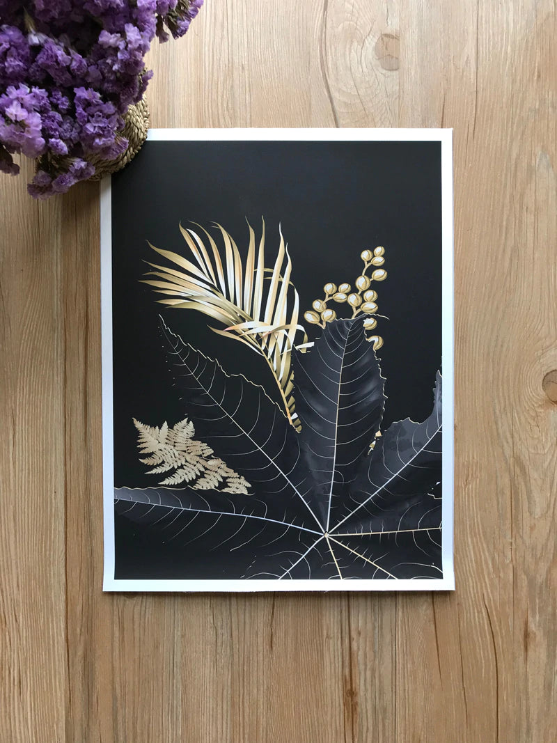 Golden Tropical Botany Luxury Nordic Wall Art Black & Gold Palm Leaves Fine Art Canvas Prints Salon Pictures For Office Living Room Bedroom Modern Interior Decor