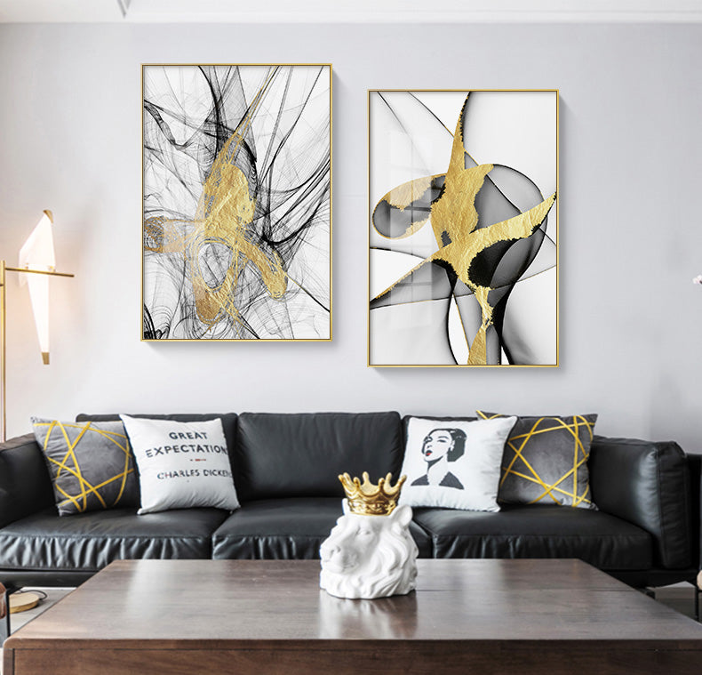 Golden Web Abstract Wall Art Pictures Fine Art Canvas Print Modern Minimalist Luxury Pictures For Loft Apartment Living Room Home Office Interior Decor