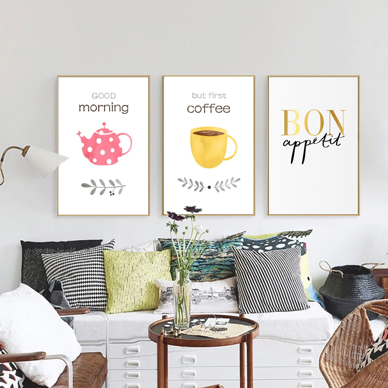Good Morning Bon Apetit But First Coffee Wall Art Kitchen Posters Fine Art Canvas Prints For Cafe Dining Room Colorful Home Decor
