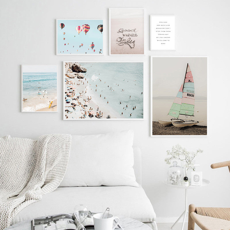 Good Vibes Only Beach Surf And Sail Travel Dreams Wall Art Fine Art Canvas Prints Posters For Living Room Nordic Style Summer House Inspirational Wall Art Decor