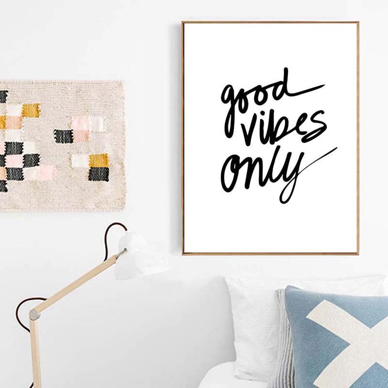 Good Vibes Only Inspirational Poster Black And White Fine Art Canvas Print Minimalist Nordic Style Quotations Wall Art For Office Living Room Simple Home Decor