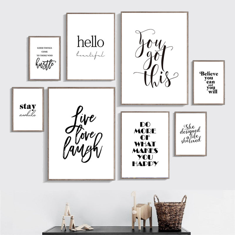 Good Vibes Only Simple Minimalist Quotes Wall Art Black White Fine Art Canvas Prints Inspirational Quotations Posters For Living Room Home Office Decor
