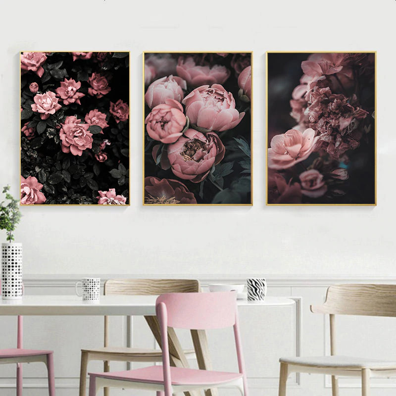 Gorgeous Pink Peonies Wall Art Fine Art Canvas Prints Modern Floral Pictures For Bedroom Living Room Minimalist Styling Glam Home Decor