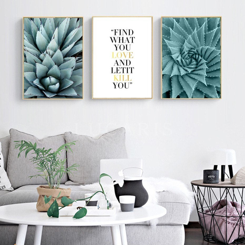 Green Cactus Leaves Abstract Nature Wall Art Inspirational Quotes Prints  Nordic Canvas Paintings For Living Room Dining Room Home Decor