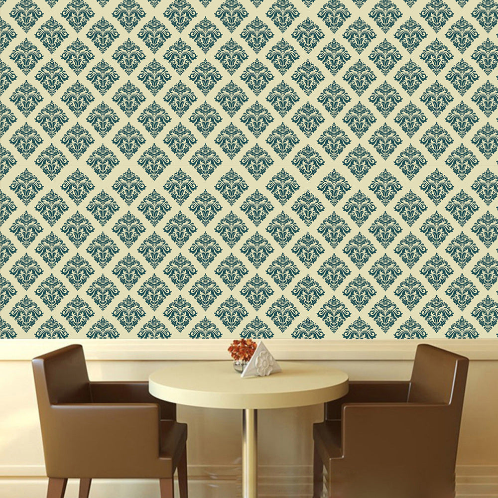 Green Damask Print Self Adhesive PVC Wall Mural Sticky-Back Vinyl Wallpaper Rolls Peel and Stick Covering For Furniture Cabinets Surfaces Creative DIY Decor