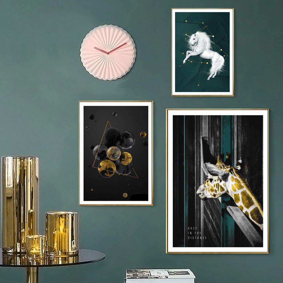 Green Gold Retro Wall Art Modern Vintage Abstract Renaissance Unicorn Nordic Style Gallery Wall Pictures For Modern Home Interior Decor