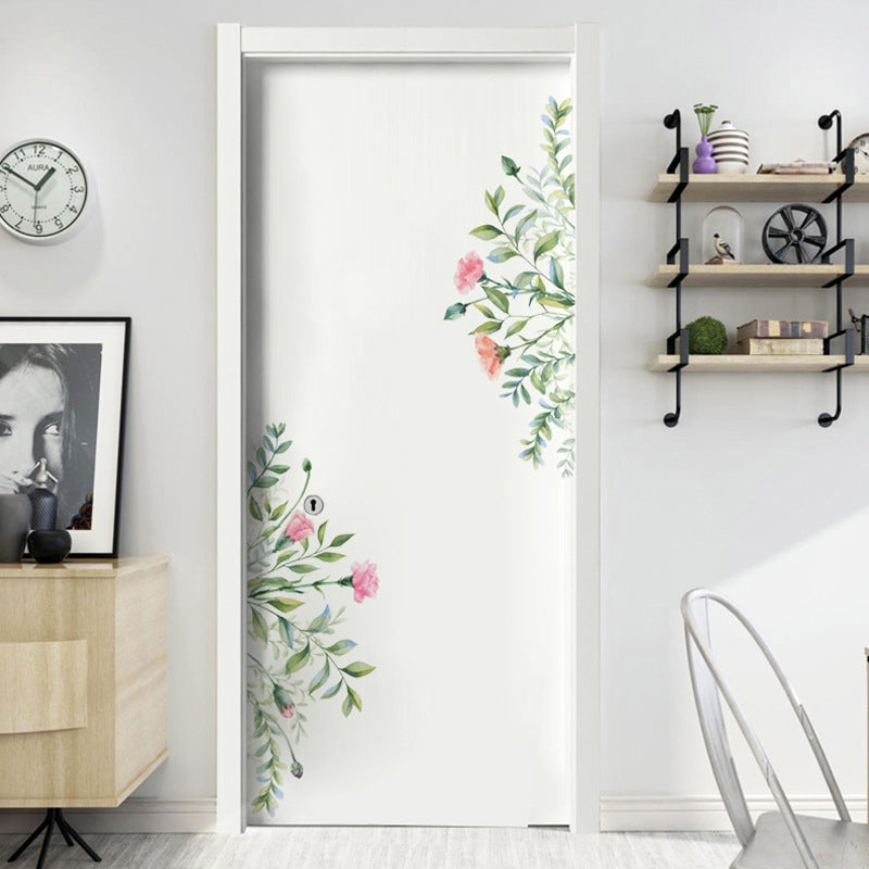 Green Leaves And Flowers Wall Mural Removable PVC Wall Decals For Living Room Bedroom Simple Modern Creative DIY Home Makeover Wall Art Decor
