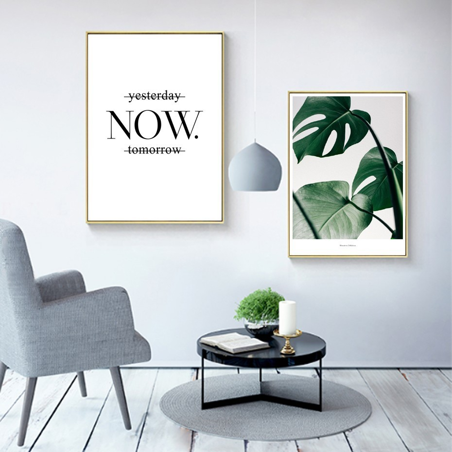 Green Leaves Monstera Plant Wall Art Inspirational Quotation Minimalist Nordic Style Motivation Posters Fine Art Canvas Prints For Office Decor Home Interior Styling