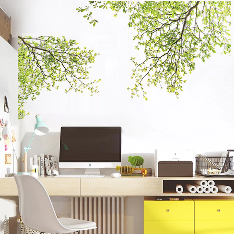 Green Leaves Summer Tree Branches Wall Decal Removable PVC Wall Stickers Creative DIY Wall Decor For Kitchen Bedroom Home Office Living Room Decoration
