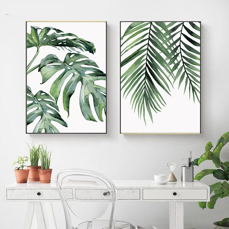 Green Leaves Watercolor Paintings Fine Art Canvas Giclee Prints Monstera Wall Art Palm Leaves Ferns Modern Botany Pictures For Living Room Wall Decor