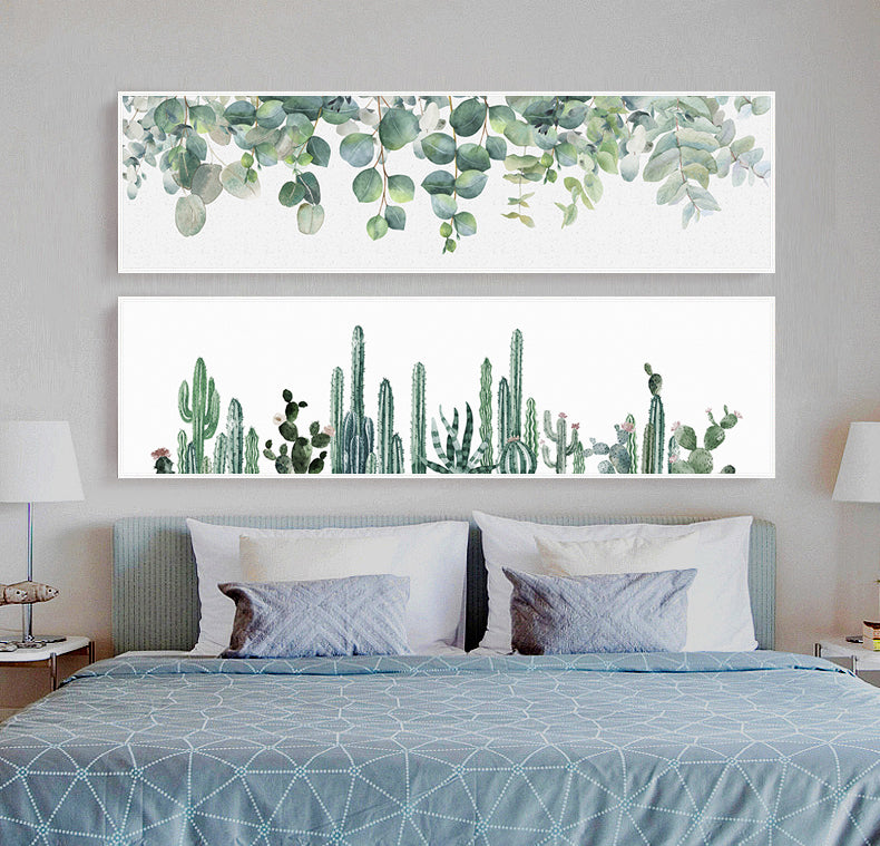 Greenery Wide Format Wall Art Fine Art Canvas Prints Cactus Monstera Green Forest Widescreen Nature Pictures For Living Room Home Decor