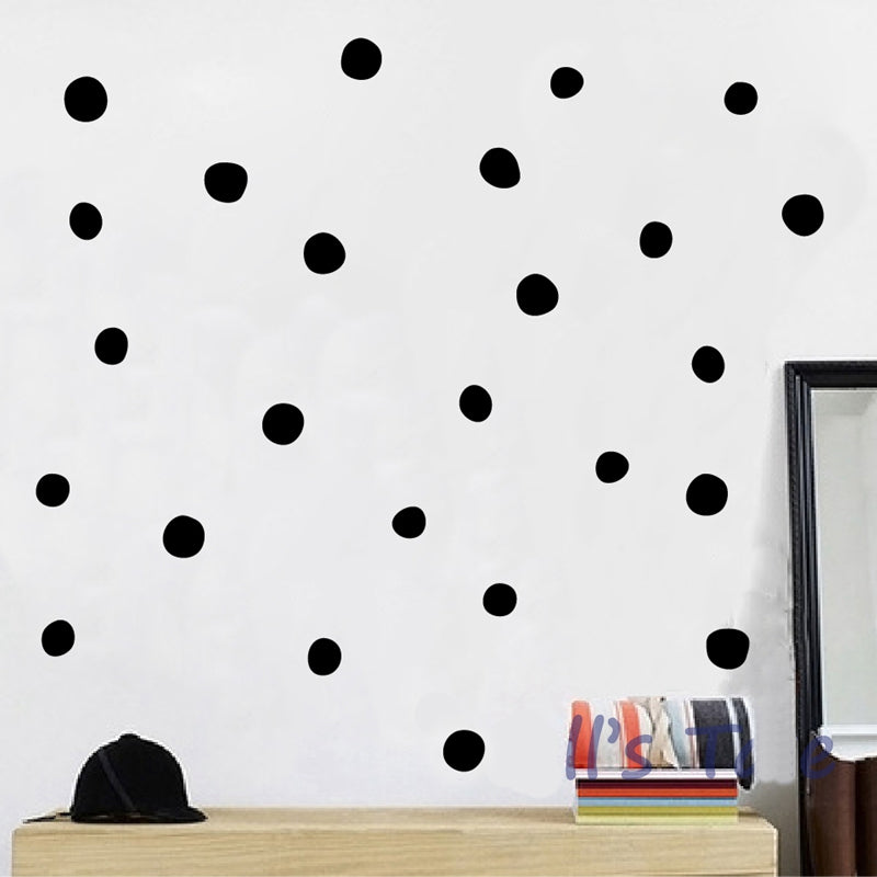 Hand-Drawn Polka Dots Wall Decals For Kids Room Removable PVC Vinyl Wall Stickers For Creative DIY Home Decoration Colorful Nursery Room Decor