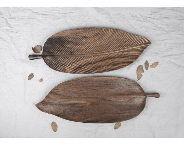 Hand Carved Black Walnut Wooden Leaf Snack Tray Decorative Tea Plates Nordic Home Decor Dining Room Decor Coffee Table Plates Wood Plates