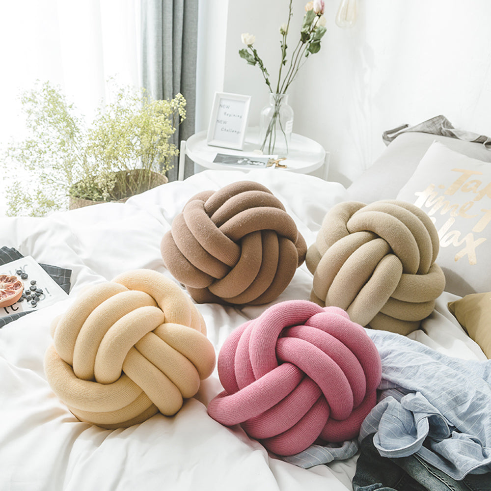 Handmade Nordic Knot Cushion Decorative Pillows Cushion Ball Knotty Pillow Ball Cushion for Home Or Car Choose from 12 Colors! Diameter 30cm