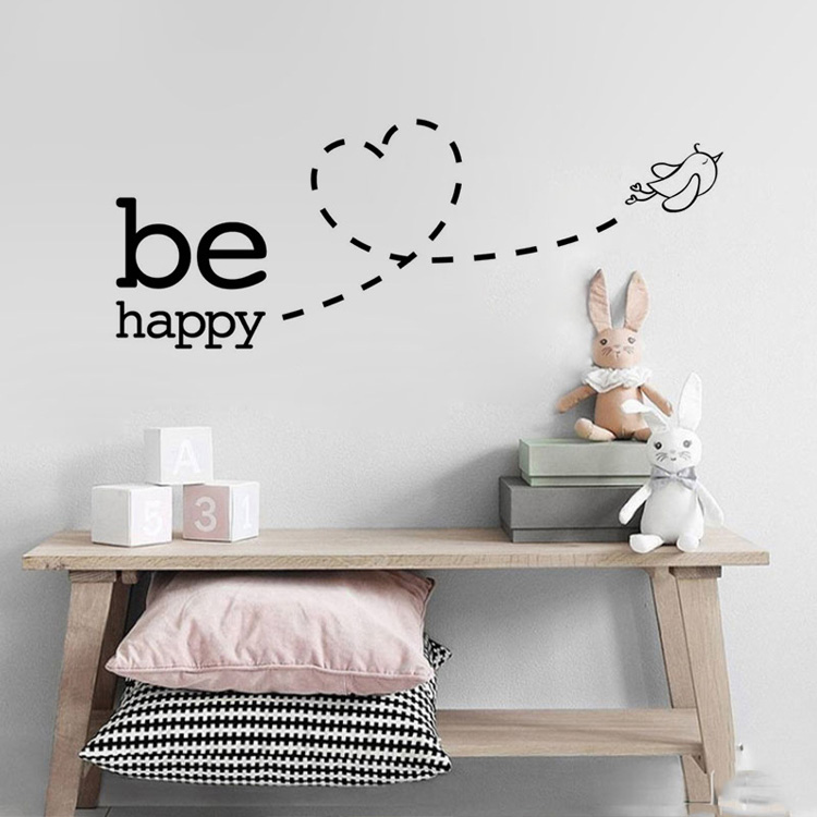 Happy Bird Wall Mural Be Happy Positive Affirmation Wall Art Decal Removable PVC Wall Sticker For Living Room Bedroom Wall Art Decor