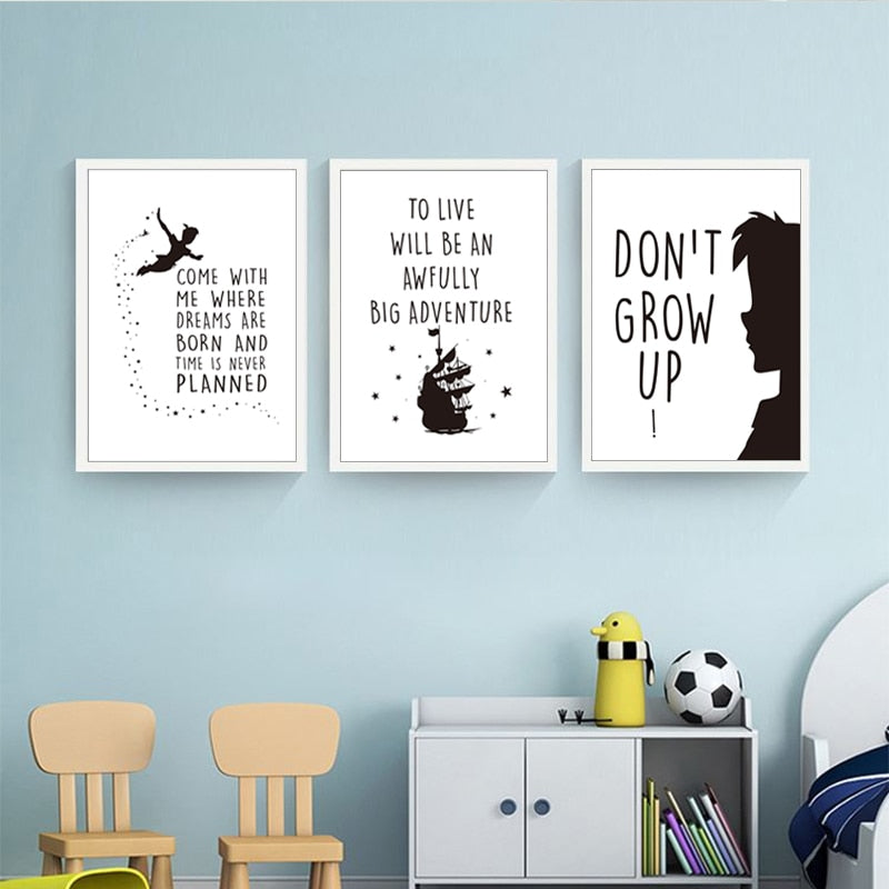 Happy Quotes Nordic Nursery Wall Art Inspired By Kids Cartoon Characters Black White Big Adventure Dreams Never Grow Up Quotations Wall Art