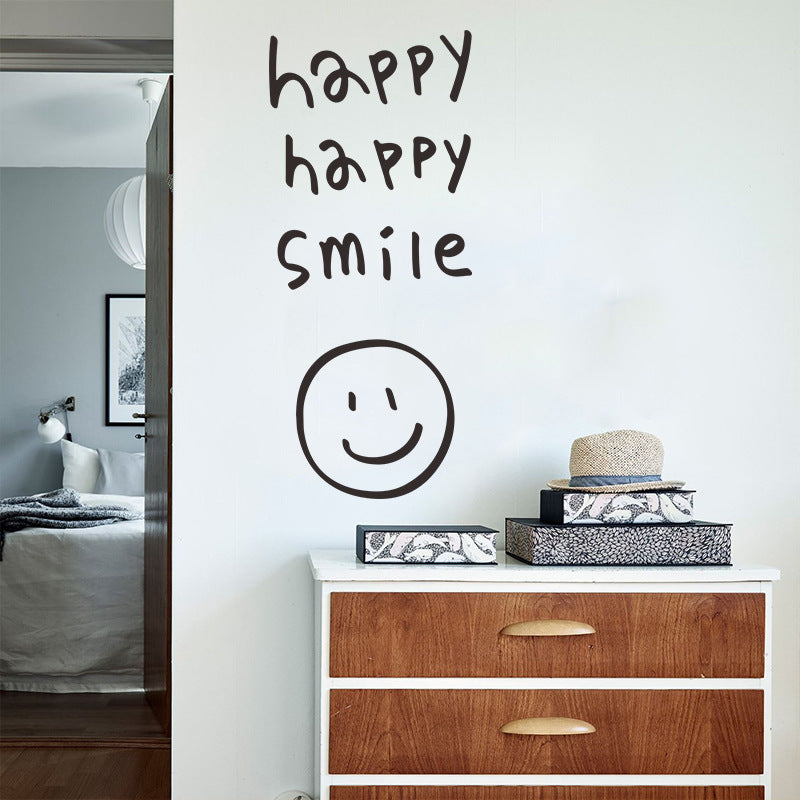 Happy Smile Wall Decal Removable PVC Vinyl Wall Stickers For Kitchen Living Room Bedroom Wall Decoration Promoting Positivity Creative DIY Home Interior Decor