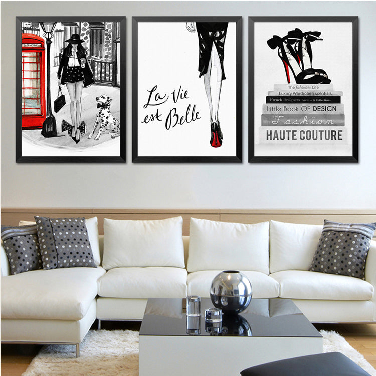 Haute Couture Fashion Posters Chic London Paris Glamorous Salon Art Nordic Fine Art Canvas Prints For Modern Boutique Home Interior Decor.