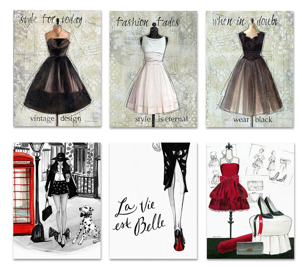 Haute Couture Fashion Posters Chic London Paris Glamorous Salon Art Nordic Fine Art Canvas Prints For Modern Boutique Home Interior Decor
