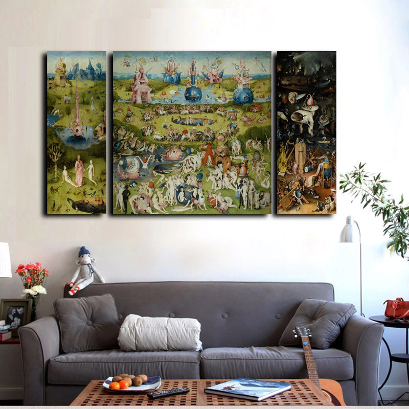 Hieronymus Bosch , The Garden of Earthly Delights Print Canvas Poster  Triptych Wall Art Famous Fine Art Painting For Modern Home Decor , 3Pcs