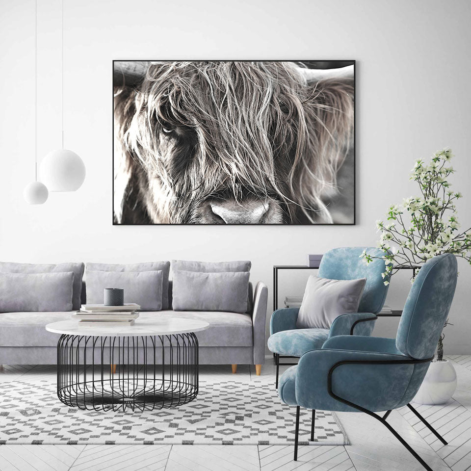 Highland Cattle Nordic Style Wall Art Poster Fine Art Canvas Print Rustic Modern Farmhouse Pictures For Living Room Dining Room Scandinavian Interior Decor