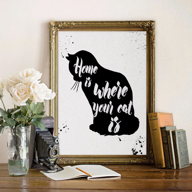 Home Is Where Your Cat is Quote Cat Art Modern Art Canvas Poster Feline Painting Cat Pictures For Living Room Home Decor