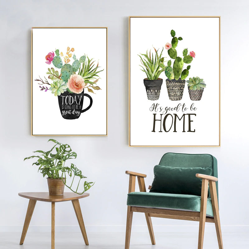 Home Sweet Home Cactus Plant Pots Botanic Wall Art Fine Art Canvas Prints Nordic Style Pictures For Living Room Kitchen Dining Room Decor