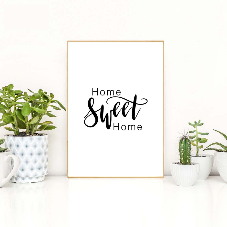 Home Sweet Home Quotation Wall Art Minimalist Black And White Nordic Style Poster Fine Art Canvas Print For Living Room Bedroom Home Office Decor