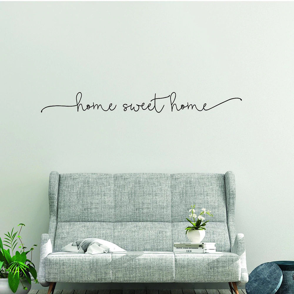Home Sweet Home Wall Mural Modern Typographic Text PVC Wall Decal Creative DIY Wall Art For Living Room Bedroom Dining Room Kitchen Wall Decoration