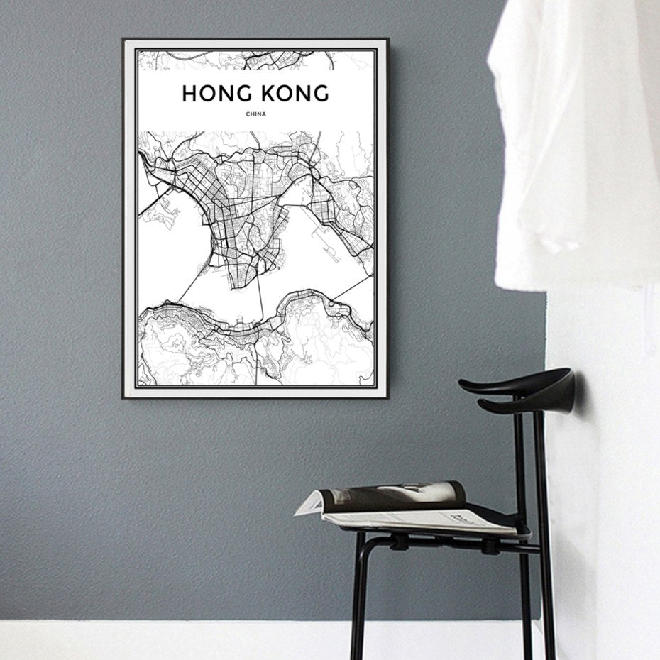 Hong Kong Wall Map Modern Asia City Map Art Abstract Minimalist Black White Posters Canvas Prints Pictures for Modern Home Decoration