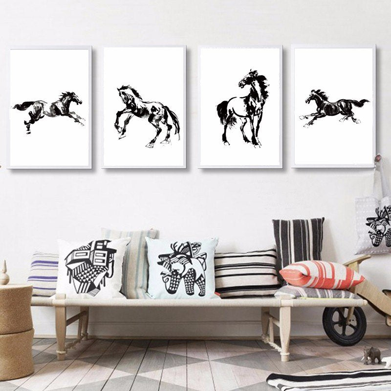 Horse Wall Art Black and White Horse Posters Modern Minimalist Canvas Paintings Equestrian Pictures Gifts For Horse Lovers
