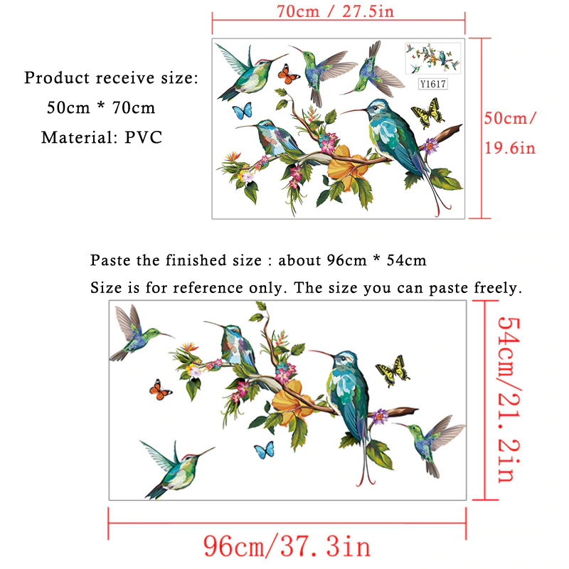 Hummingbirds and Butterflies Colorful Wall Mural Removable PVC Wall Decal For Living Room Kitchen Playroom Creative DIY Wall Decoration