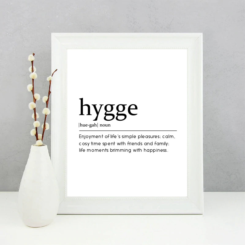 Hygge Definition Quote Canvas Painting Picture , Modern Minimalism Typography Monochrome Dictionary Poster Print Home Wall Decor