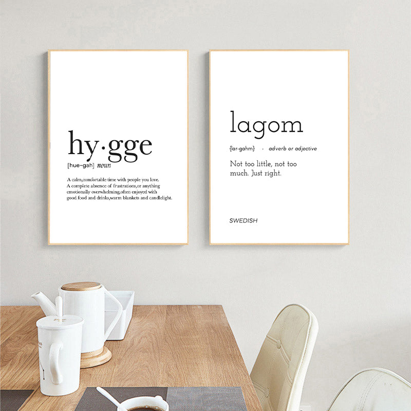 Hygge Lagom Definition Minimalist Nordic Wall Art Black White Fine Art Canvas Prints Swedish Danish Norwegian Lifestyle Quotes Posters For Modern Home Office