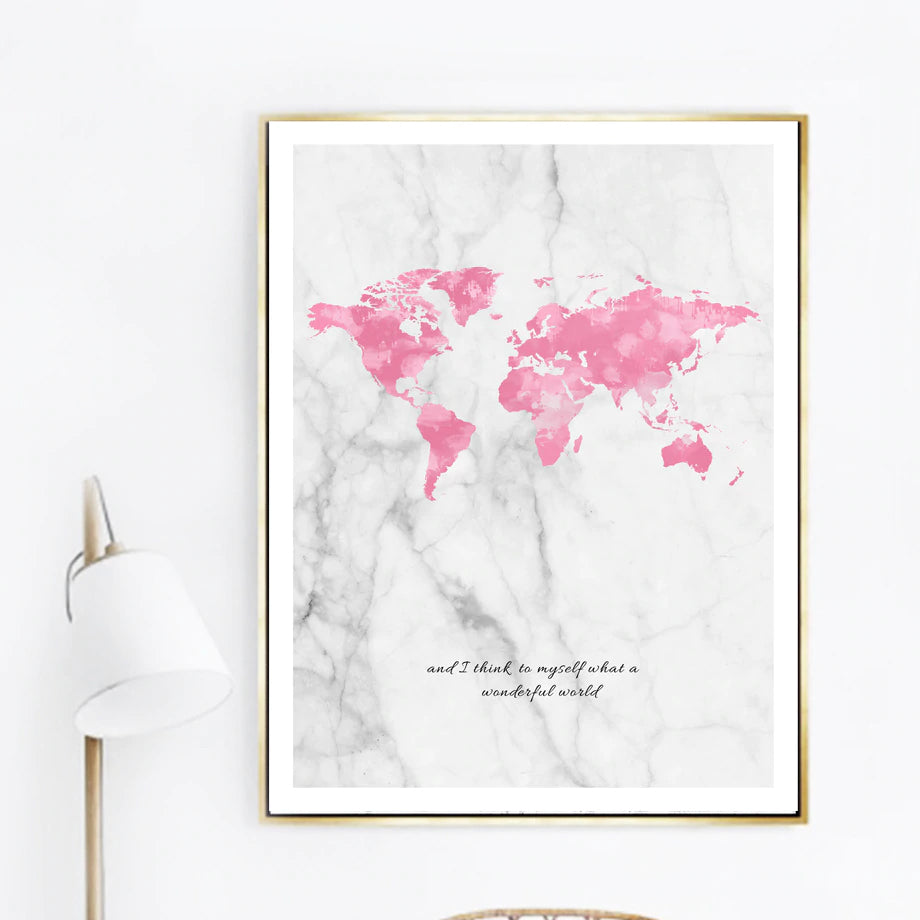 I Can And I Will. Positive Affirmation Pink Map Grey Marble Background Wonderful World Quote Wall Art Fine Art Canvas Prints Nordic Home Decor