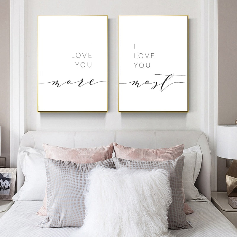 I Love You More I Love You Most Love Quote Word Art Wall Art Black White Fine Art Canvas Print Minimalist Quotes Posters For Lovers Couples Bedroom Decor