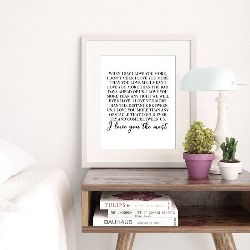 I Love You More Love Poem Wall Art Black White Fine Art Canvas Print Minimalist Quotes Posters For Wife Fiance Lovers Couples Simple Wedding Gift