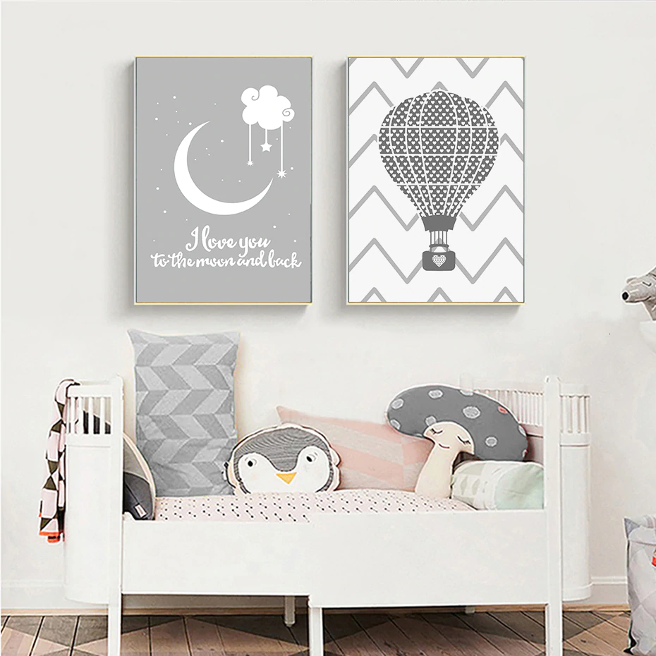 I Love You To The Moon And Back Baby's Room Wall Art Posters Cute Modern Simple Nordic Canvas Paintings For Modern Home Decor